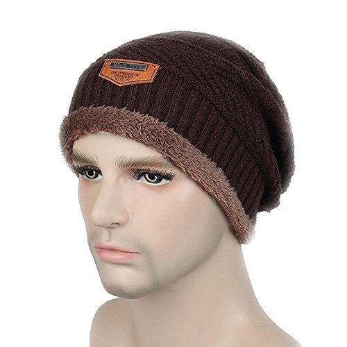 hombres para Gorra punto sombrero de BaronHong invierno terciopelo el Gorra de de café esquí 6Zwwqpdnx