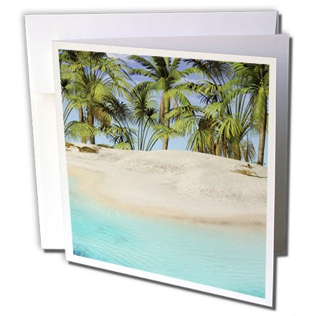 3dRose The Edge of The Beach with Palm Trees Greeting Cards, 6