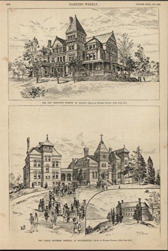 Executive Mansion Albany Vassar Brothers' Hospital 1887 antique engraved print