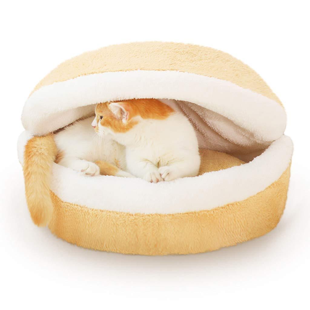 YELLOW 462635CM YELLOW 462635CM Pet nest pet House pet Supplies cat Litter cat Supplies Winter cat Sleeping Bag net red cat nest Winter Warm (color   Yellow, Size   46  26  35CM)