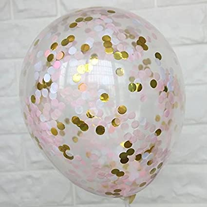 12 Pack Clear Balloons Filled with Pi... Rose Gold Confetti Balloons 18 Inch
