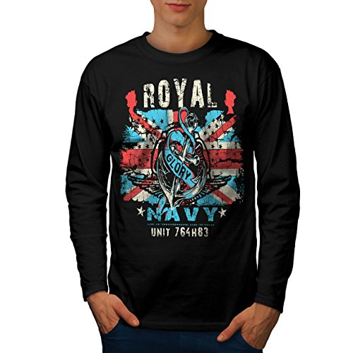 wellcoda Royal Navy Glory UK Mens Long Sleeve T-Shirt, British Graphic Print Black (British Organic Mens T-shirt)