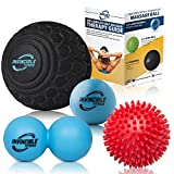 "Deep Tissue Massage Ball Set - Includes 5"" Foam Roller Mobility Ball, Double Peanut Lacrosse Ball, Spiky Balls for Trigger Point Therapy, Myofascial Release, Foot Reflexology, Plantar Fasciitis"