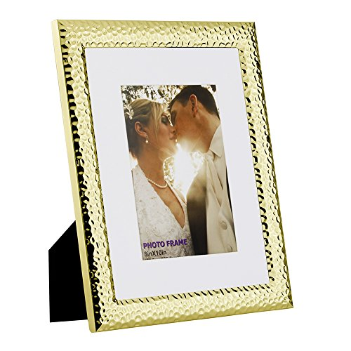 RPJC 8x10 Picture Frames Made of Metal (Steel) and High Definition Glass Display Pictures 5x7 with Mat or 8x10 Without Mat for Wall mounting photo frame ()