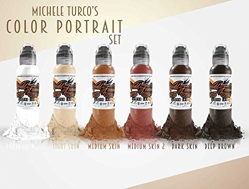 Michele Turco Color Portrait 6 Bottle Set - World Famous Tattoo Ink - 1oz. (World Ink Famous Tattoo)