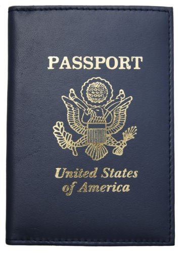- ADB-New Navy Blue Leather US Passport Cover ID Holder Wallet Travel Case Handmade