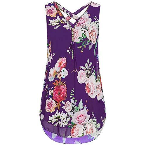 Womens Loose Flowers Chiffon Sleeveless Tank V-Neck Zipper Hem Scoop Tshirts Tops(X-Large, J_Purple -