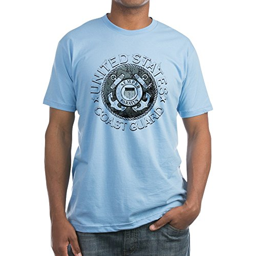 Royal Lion Fitted T-Shirt US Coast Guard Semper Paratus Emblem - Baby Blue, Medium - Coast Guard Fitted T-shirt