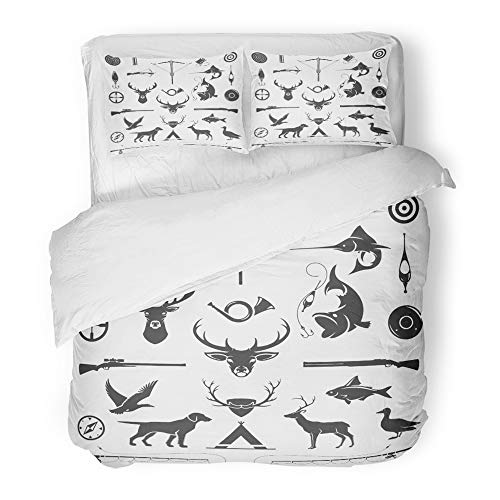 Emvency 3 Piece Duvet Cover Set Brushed Microfiber Fabric Breathable Hunting and Fishing Vintage Deer Head Hunter Weapons Forest Wild Animals Bedding Set with 2 Pillow Covers Full/Queen Size