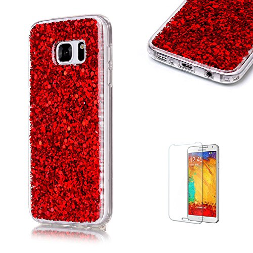 For Samsung Galaxy S7 Case with Free Screen Protector.Funyye Luxury Fashion Bling Glitter Paillette Flexible Soft Rubber Gel TPU Protective Case for Samsung Galaxy S7 -Red