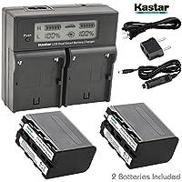 Kastar LCD Dual Smart Fast Charger & 2 x Battery for Sony NP-F970 NP-F960 F960 and DCR-VX2100 HDR-AX2000 FX1 FX7 FX1000 HVR-HD1000U V1U Z1P Z1U Z5U Z7U HXR-MC2000U MVC-FDR1 NEX-EA50UH FS100U FS700U