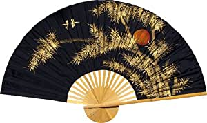 "Large 60"" Folding Wall Fan -- Bamboo Moon -- Original Hand-painted"