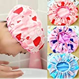 Pramukh enterprice Set of 3Pc Premium Quality Reusable Printed Shower Cap With Elastic Band For Home Use/Salons/Spa/Hair treatment/Beauty Parlours For Both Men And Women Bathing Accessory-Multi Color
