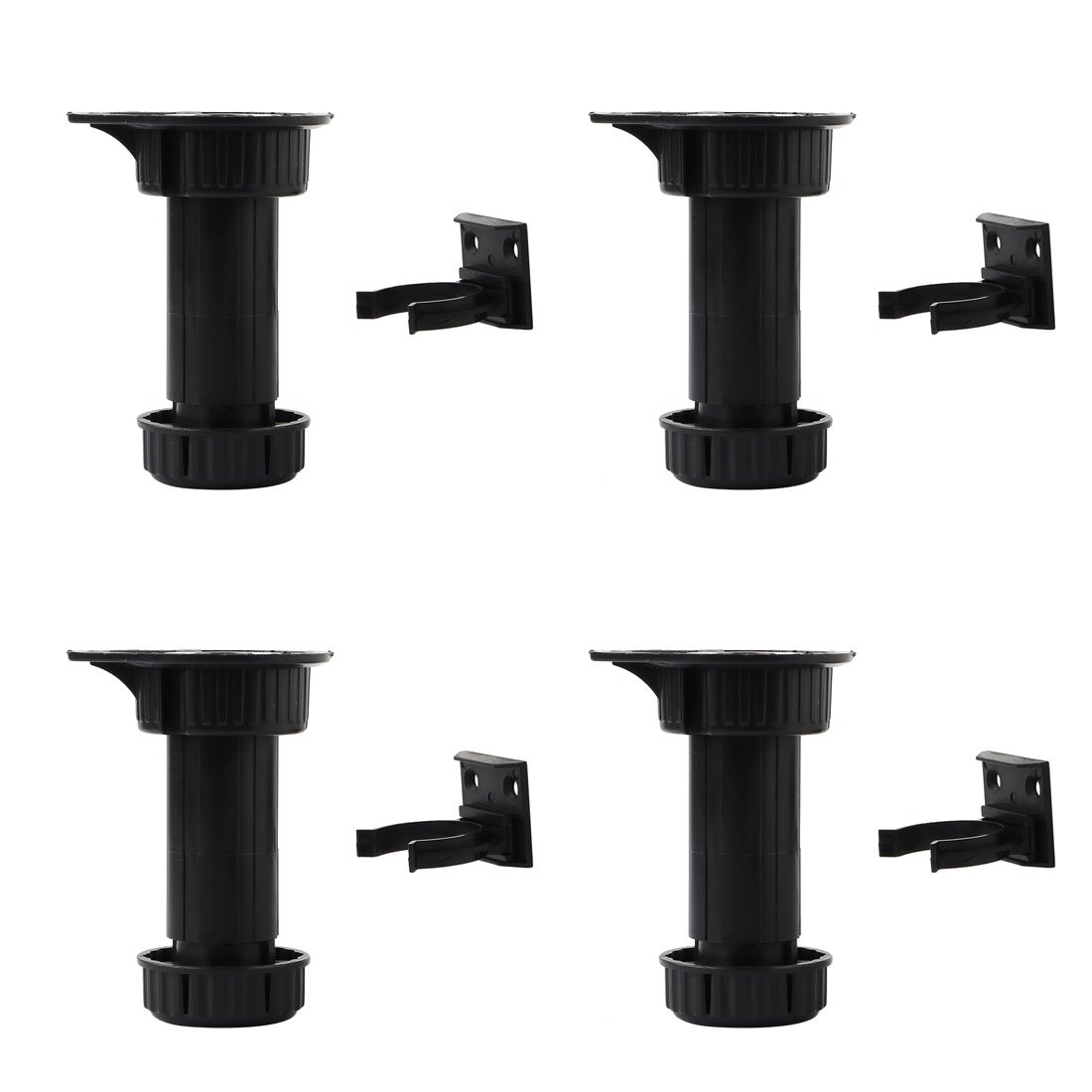 uxcell ABS 4pcs Adjustable Kitchen Cabinet Legs Feet Height(Total:100-145mm) x 44mm Dia