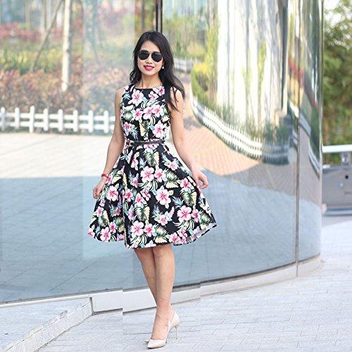 SRANDER Vintage Kleid 50s Retro Kleid Ärmellos Rockabilly Schwingen ...