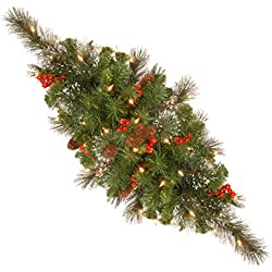 National Tree 30 Inch Crestwood Spruce Centerpiece with Silver Bristle, Cones, Red Berries and 35 Warm White Battery Operated LED Lights (CW7-300-30C-B1)