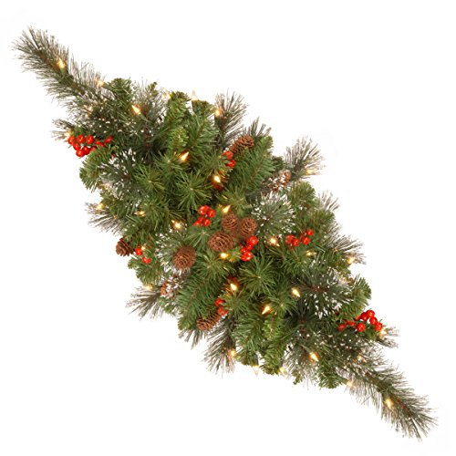 National Tree 30 Inch Crestwood Spruce Centerpiece with Silver Bristle, Cones, Red Berries and 35 Warm White Battery Operated LED Lights (CW7-300-30C-B1) (Dining Table Centerpieces Cool)