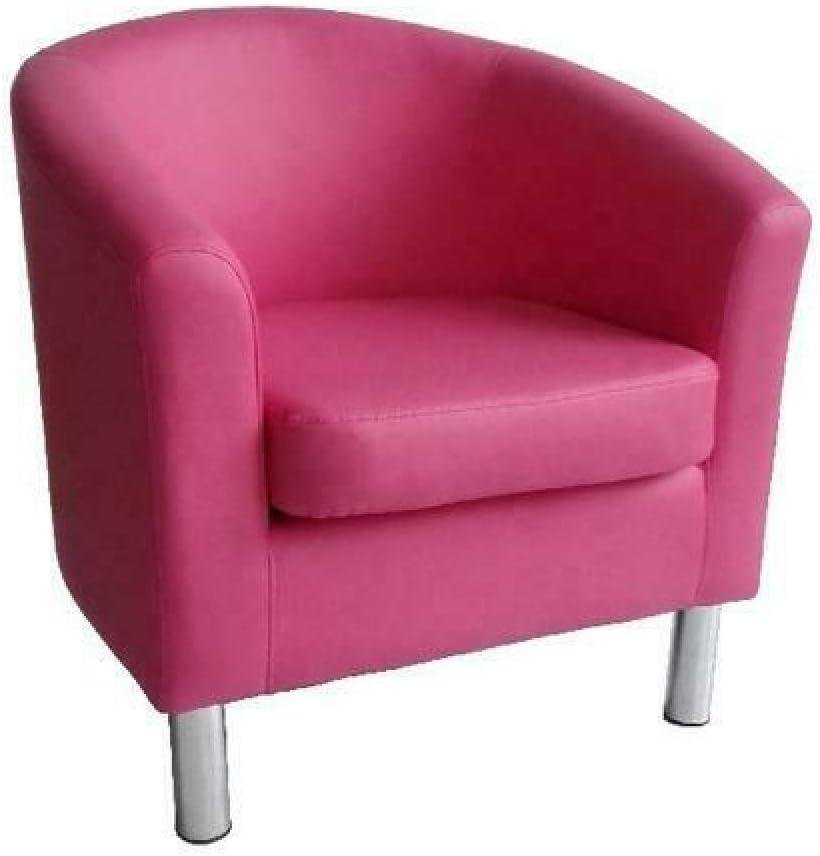 Sillón de diseño de piel con respaldo bajo, para sala de estar, recepción, oficina, color rosa 66 x 68 x 72 cm