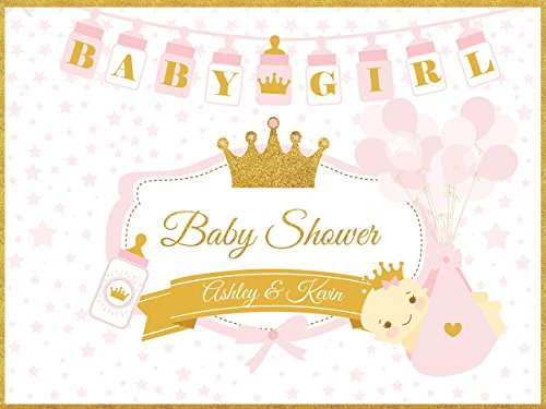 Custom Pink & Gold Little Princess Royal Baby Shower Banner - Size 24x36, 48x24, 48x36; Royal Baby Shower, Personalized Poster, Glitter, Tiara, Baby Girl, Handmade Party Supply Baby Shower - Set Gold Pics