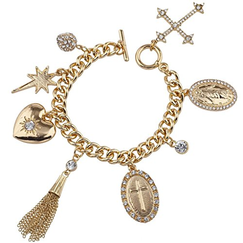 Lux Accessories Gold Tone Faux Rhinestone Religious Cross Multi Charm Bracelet