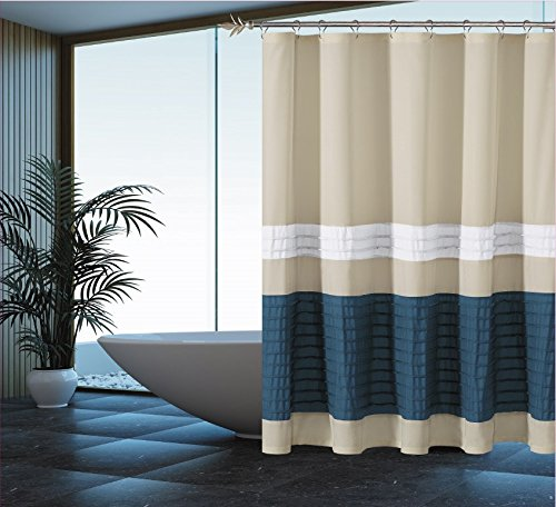 Pleated Fabric Shower Curtain (Pleated Fabric Shower Curtain 70-inches by 72-Inches (Assorted Colors)- Beige-Slate Blue-White)