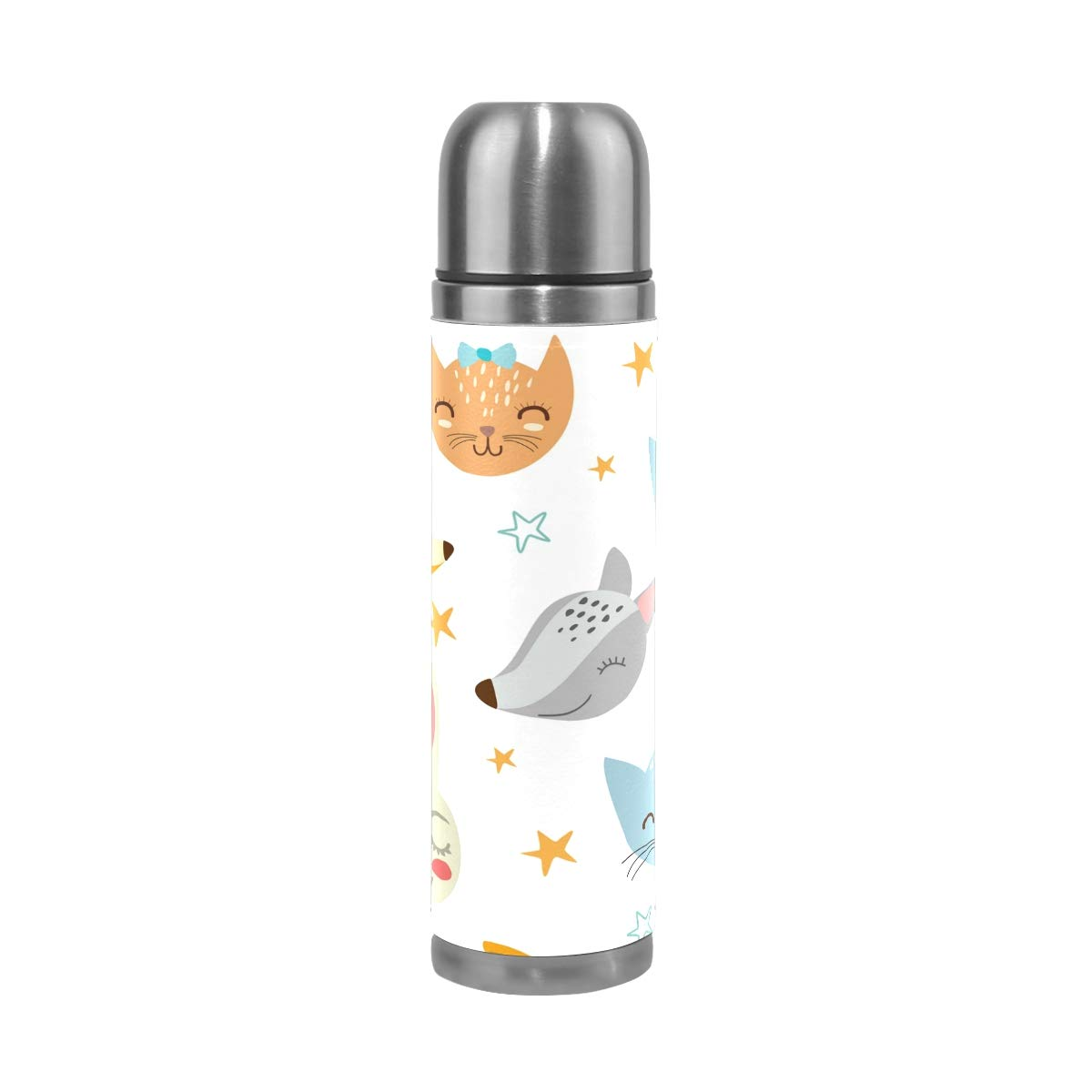 Jojogood Cartoon Animal Stainless Steel Water Bottle Leak-Proof Vacuum Insulated Flask Pot Sport Double Wall PU Leather Travel Thermos Mug for Hot and Cold Drinks Coffee 17 oz