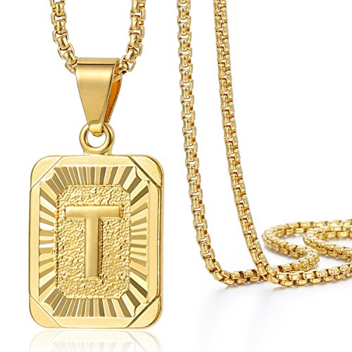 Trendsmax Mens Womens Yellow Gold Plated Square Capital Letter T Pendant Necklace Stainless Steel Box Link Chain -