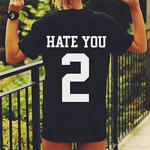 TOPmountain Hate You 2 Daily Col RAS du Cou Printed Word Coton T Shirt Pour Femme