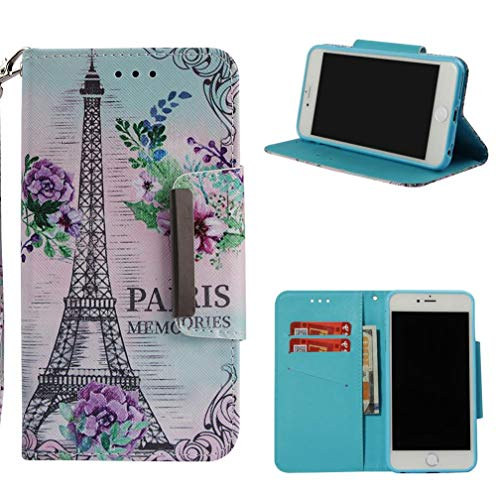 (Firefish iPhone 6/6S Case,3D Printing PU Leather Magnetic Closure Wallet Case [Durable] Slim Kickstand Folding Case Credit Card Holder for Girls for Apple iPhone 6/6S -Eiffel Tower)
