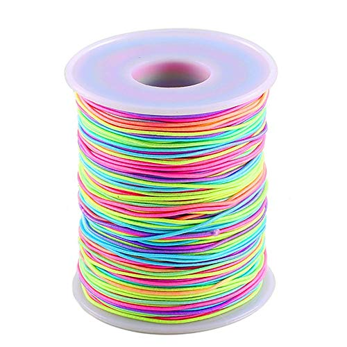 (Colorful Elastic Cord MANYEE 1mm 109Yards Round Rainbow Elastic Beading Thread Cords Fabric Crafting Stretch String Cord for Jewelry Making Necklace Bracelet)
