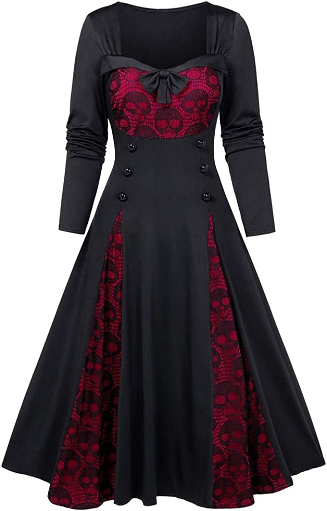 Women Plus Size Halloween Skull Dress,Ladies Lace Tie Button Bowknot Retro 70s Slim Hem Dress Costume