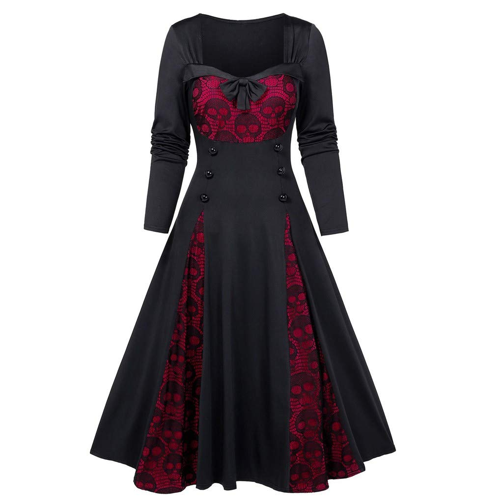 Women Halloween Cocktail Party Dress Skull Lace Insert Mock Button Bowknot Swing Dress Rockabilly Plus Size L-5XL (5X-Large, Red) by Aritone - women clothes