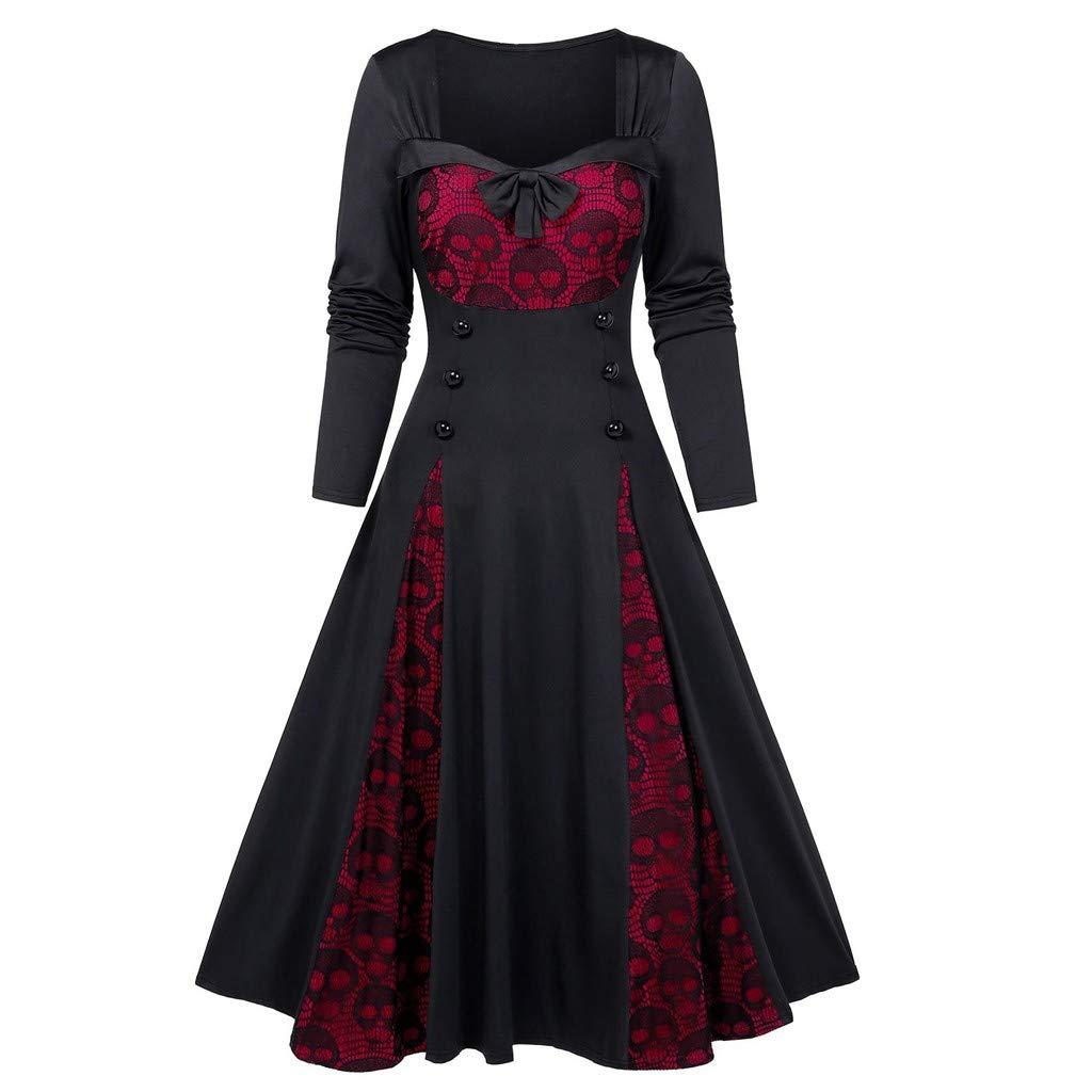 Fashionhe Women Plus Size Coat Halloween Skull Lace Tunic Insert Mock Button Bowknot Dress Slim Jacket(Red.3XL) by Fashionhe