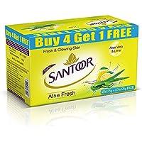Santoor Aloe Fresh Soap, 125 g (Pack of 5) with Buy 4 Get 1 Free