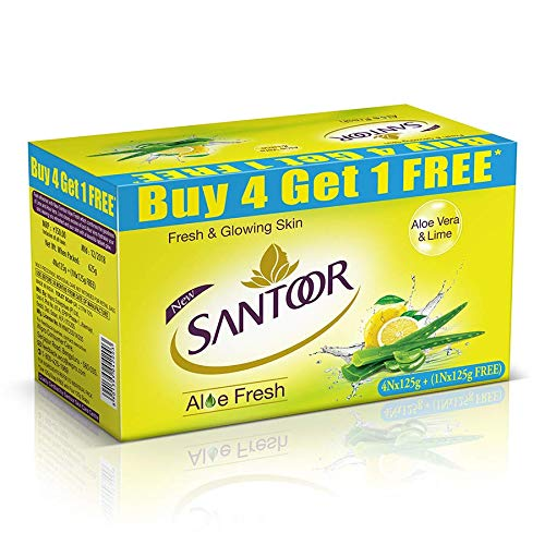 Santoor Aloe Fresh Soap with Aloe Vera and Lime, 125g (Buy 4 Get 1 Free)