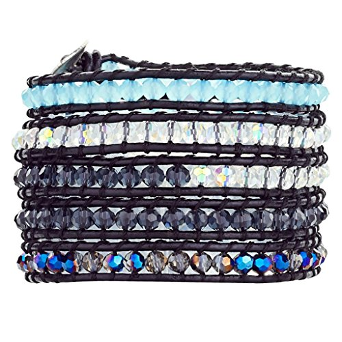 Babao Jewelry Sparkling Faceted AB Blue Crystal Natural Beads Leather 5 Wraps Bracelet by Babao Jewelry