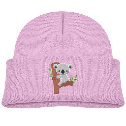 Kids Knitted Beanies Hat Koala Winter Hat Knitted Skull Cap Boys Girls Black -