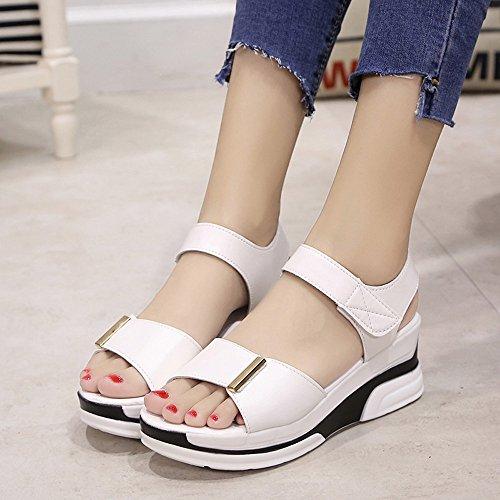 Mujer Sandalias Plataforma, Culater Zapatos de Polipiel Verano Open Toe Blanco