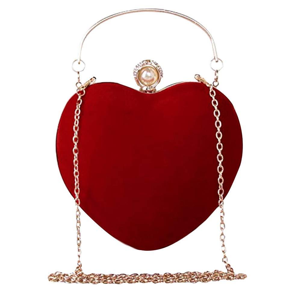 Goodbag Heart Shaped Evening Purse Velvet Clutch Purse Solid Color Evening Bag (03779Red)