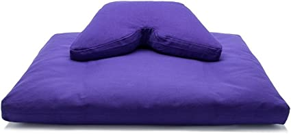 Purple Buckwheat Hull Fill Cosmic Cushion & Cotton Batting Zabuton Meditation Cushion Yoga Pillow 2 pc Set
