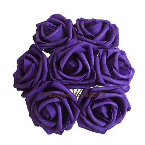 50 pcs Artificial Flowers Foam Roses Various Colors For Bridal Bouquet Bouquets Wedding Centerpieces Kissing Balls (Rose Wedding Centerpiece)