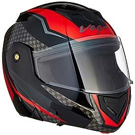 Vega Crux DX Checks Full Face Helmet (Black and Red, Medium)