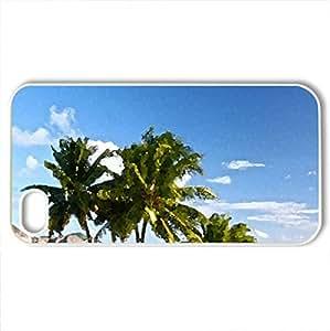 Beautiful Pearl Beach Resort Bora Bora Tahiti - Case Cover for iPhone 4 and 4s (Beaches Series, Watercolor style, White)