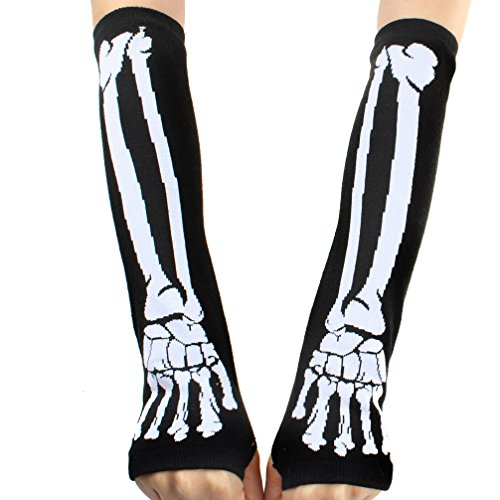Yiteng Death Rock Skeleton Fingerless Show Gloves Gothic Punk Rock Arm Warmers