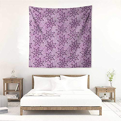Purple Square Tapestry Macro Flowers Design with Glamour Leaves Spring Inspired Floral Charm Hand Drawn Style Occlusion Cloth Painting 39W x 39L INCH Violet ()