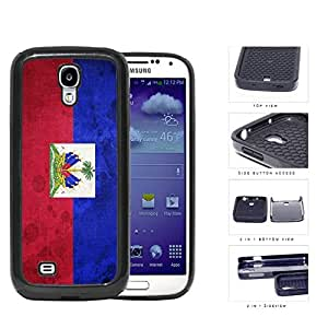 Haiti Flag with Coat of Arms Red and Blue Grunge 2-Piece High Impact Dual Layer Black Silicone Cell Phone Case iPhone 4 4s