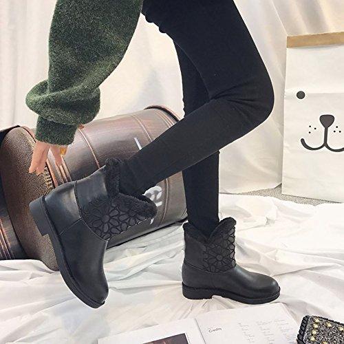 HSXZ PU Damenschuhe PU HSXZ Winter Fashion Stiefel Absatz Runder Mid-Calf Stiefel für Casual Schwarz schwarz ad4901