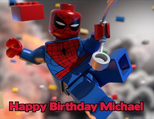 - Lego Spiderman Image Photo Cake Topper Sheet Personalized Custom Customized Birthday Party - 1/4 Sheet - 77731