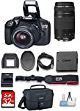 Canon EOS Rebel T6 DSLR Camera w/ 18-55mm & EF 75-300mm Lenses & 32 GB High Speed Memory card & Cleaning Kit Bundle