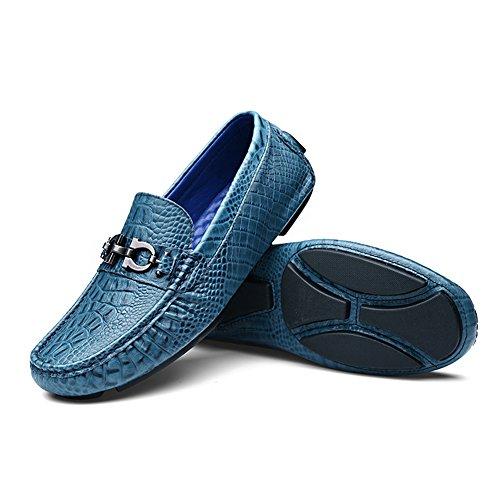 ... Shenn Herren Schlüpfen Wohnung Hochzeit Luxus Vollkorn Leder  Müßiggänger Mokassins Schuhe Blau ... 85eecaadc9
